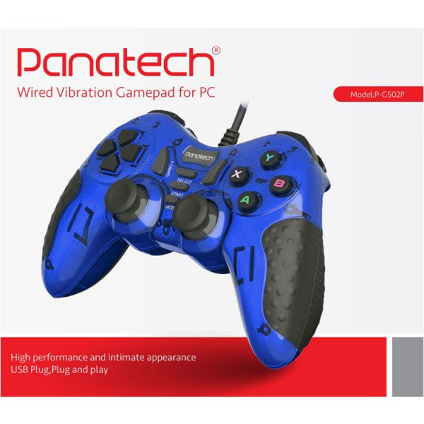 دسته بازی تک شوکدار حرفه ای Panatech مدل G502 آبی